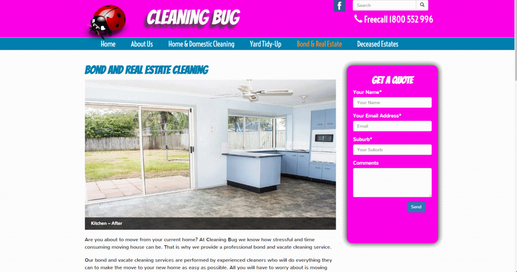 Cleaning Bug - Bond and Real Estate Cleaning. We added some before and after photos into a carousel to visually show the calibre of work