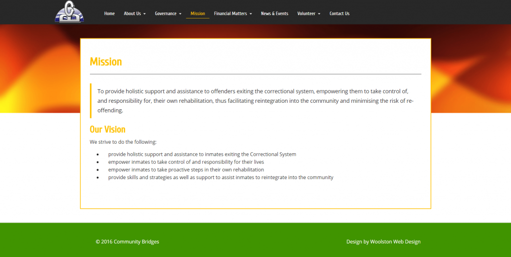 A mission statement page that has a formatted block quote.