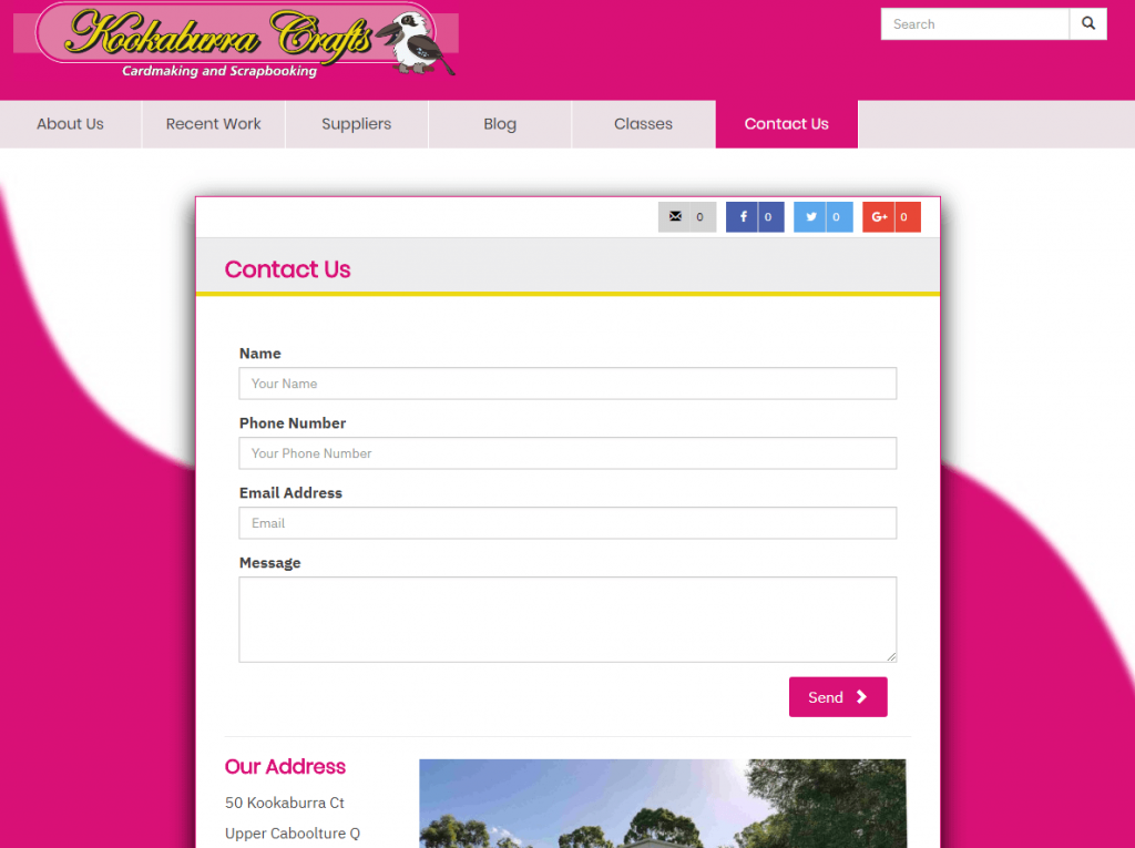 Contact Us - contact form, physical address and google map
