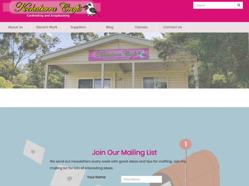 Home Page - with a hero image showing the front of the shop