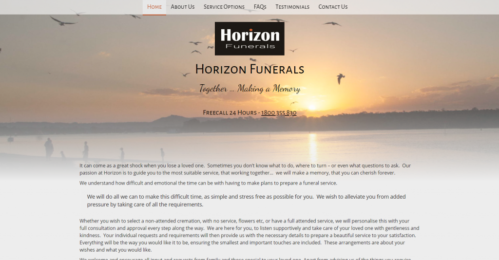 Horizon Funerals - Home page with header image