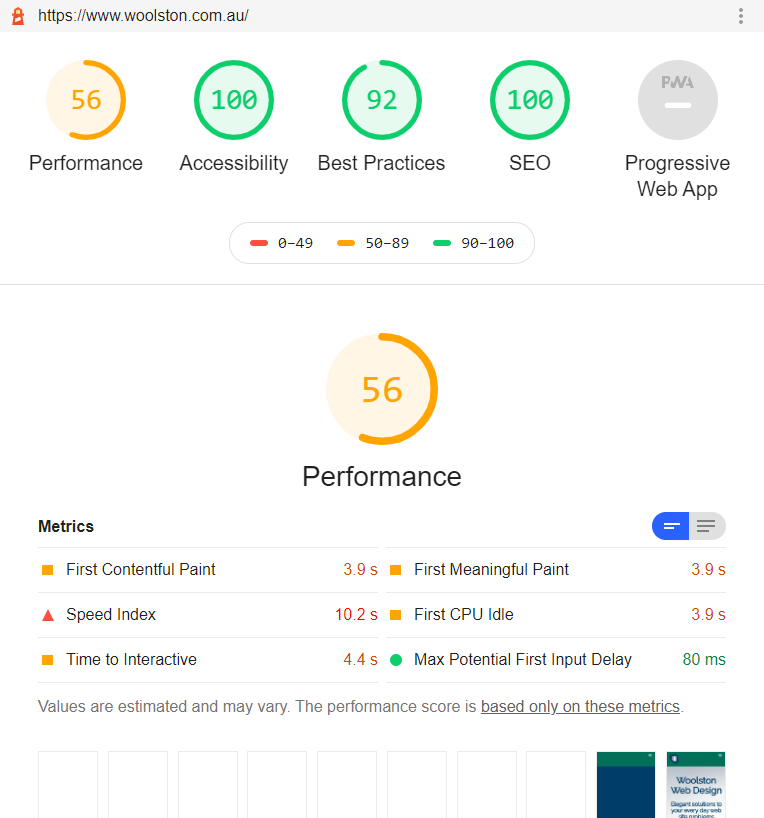 The performance score was 56 on the old hosting platform