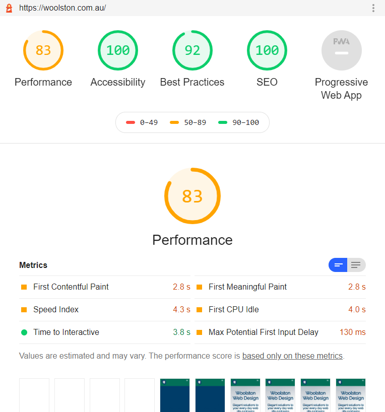 The performance score jumped to 83 on the new hosting platform